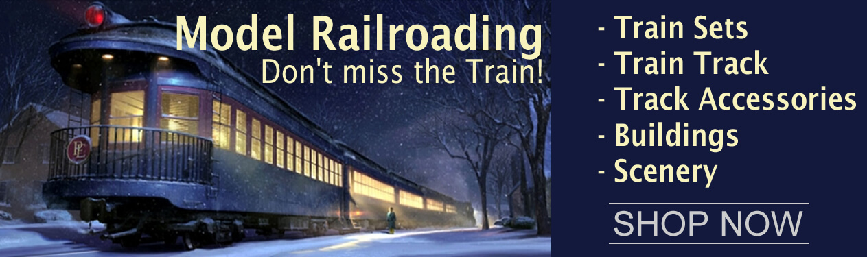 Model railroad trains, train engines, train steam locomotives, toy trains, rolling stock, train cars, train track, scale buildings, trackside structures, landscaping, miniature trees, miniature people and diorama supplies